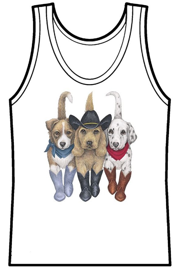 Ladies Tank Top Dogs Front & Back