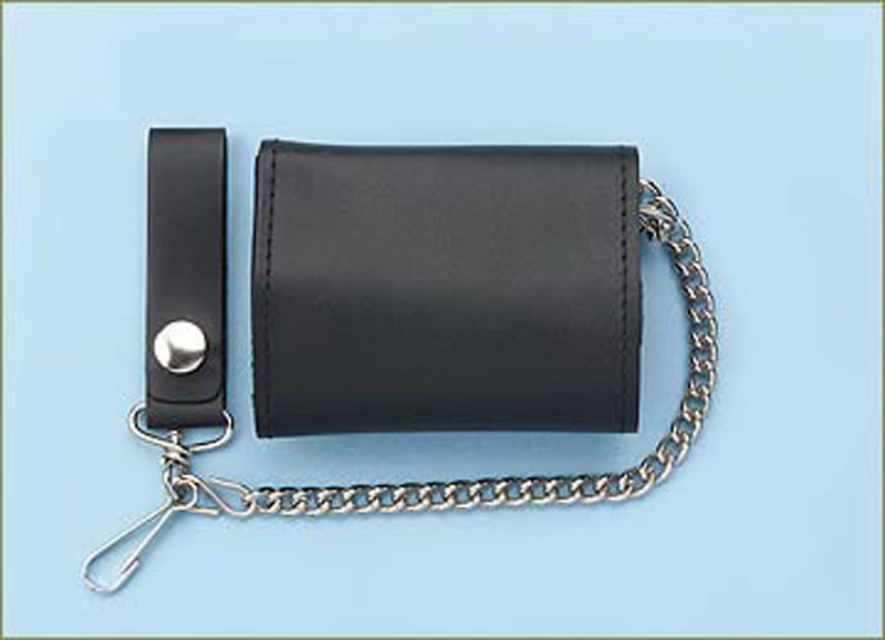 Leather Trifold With Chain  Plain