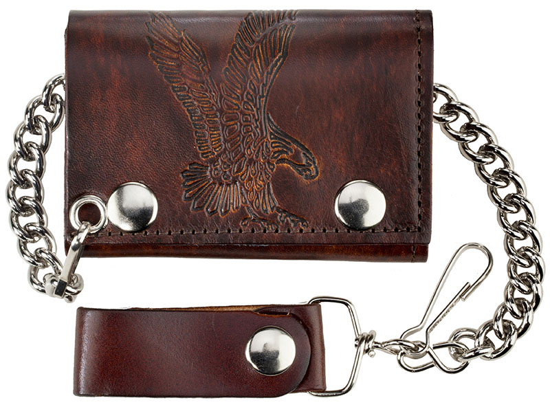 "New - Antique Leather Trifold w/Chain, Eagle, 4-/4"" x 2-3/4"", USA"