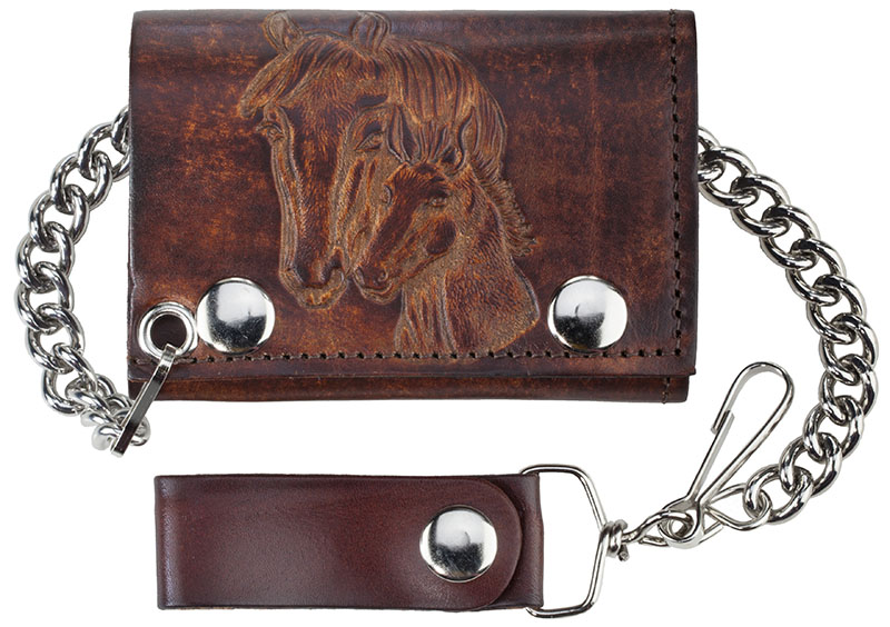 "New - Antique Leather Trifold w/Chain, Horse heads, 4-/4"" x 2-3/4"", USA"