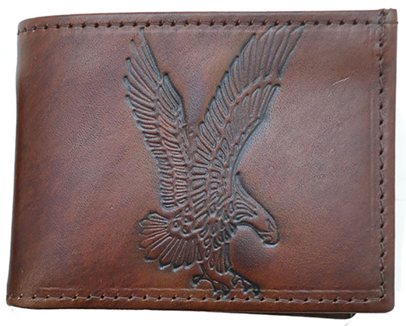 Brown Leather Billfold - Made in USA - Eagle