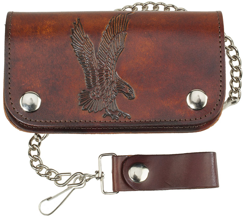 "6""Leather  Biker Wallet - Eagle - made in USA"