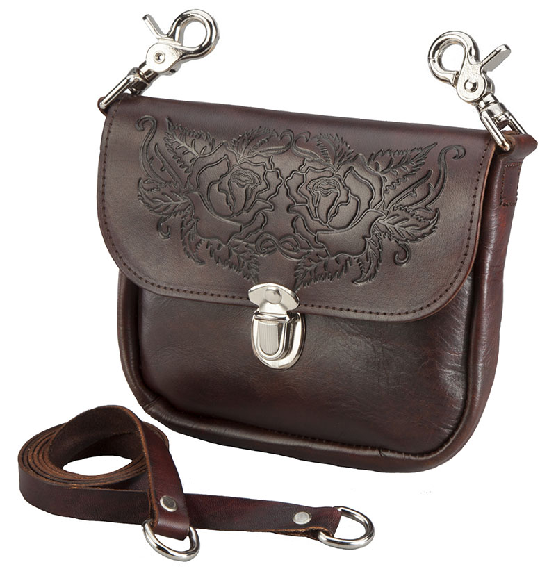 "New - Antique Brown Leather Rose Tooled Purse, 7"" x 6"" USA, wo"