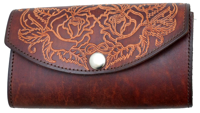 Ladies Leather Organizer Wallet - made in USA -  Brown