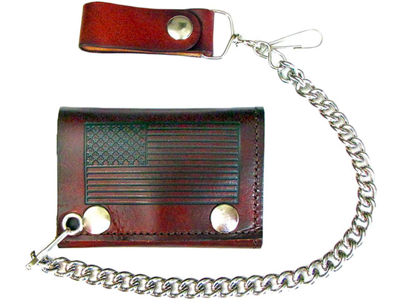 Made in the USA - American Flag Brown Leather Chain Wallet