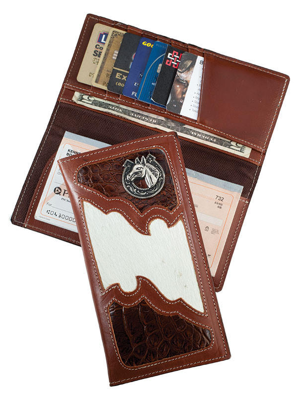 Rodeo Wallet, Brown, Crocodile, Horse Emblem