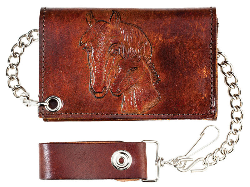 "New - Antique Leather Trifold w/Chain, Horses, 4-3/4"" x 2-3/4"", USA"