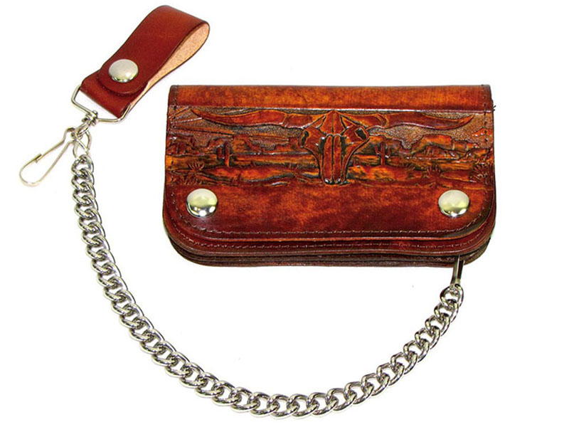 Made in the USA - Western Scene Brown Leather Chain Wallet