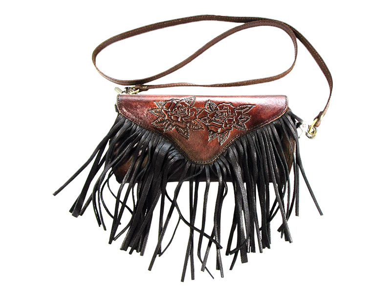 Made in the USA - Tooled Roses Leather Cross Body Purse with Fringe