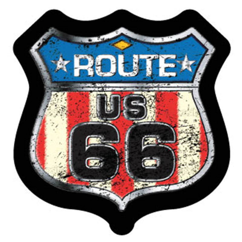 Magnet - Route 66 with Distressed Flag - Die-cut Shield - USA Made
