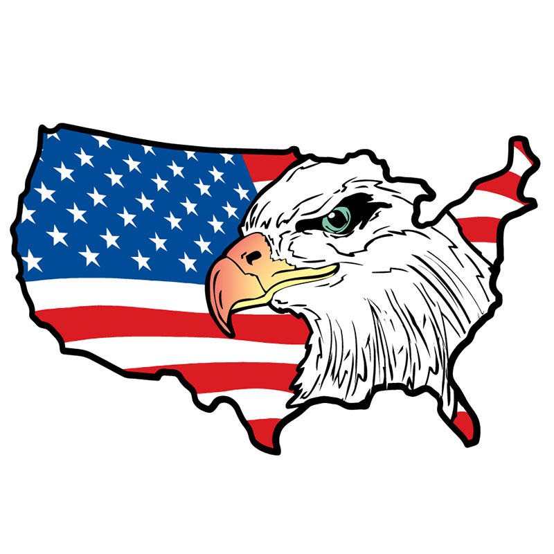 Magnet - Eagle & US Flag - Die-cut US Map - USA Made