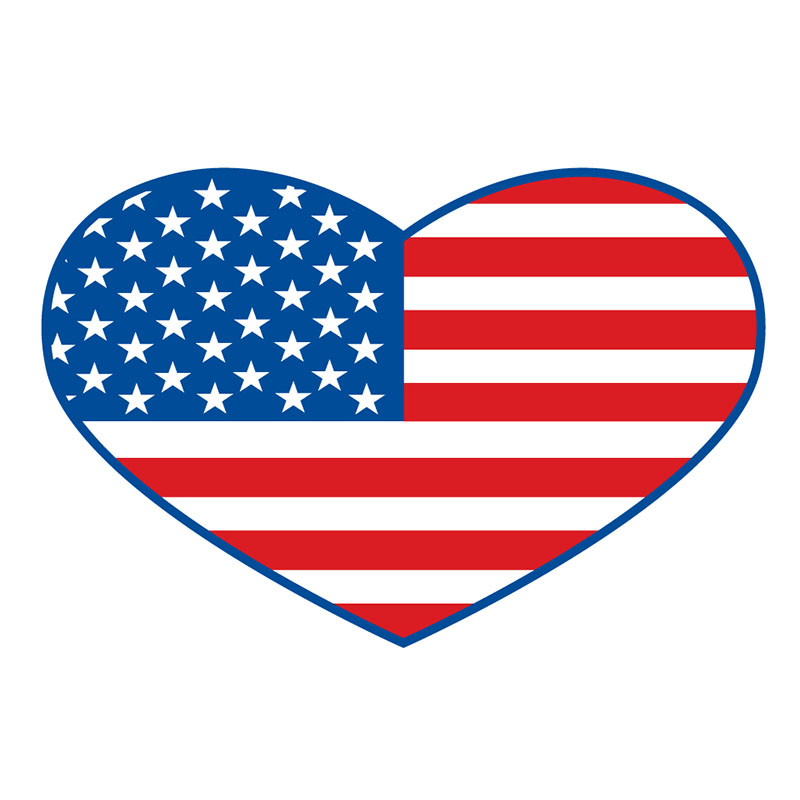 Magnet - US Flag - Die-cut Heart - USA Made