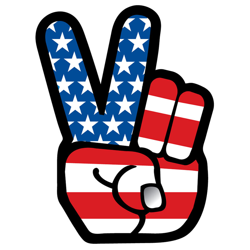 Magnet - US Flag - Die-cut Peace Fingers - USA Made