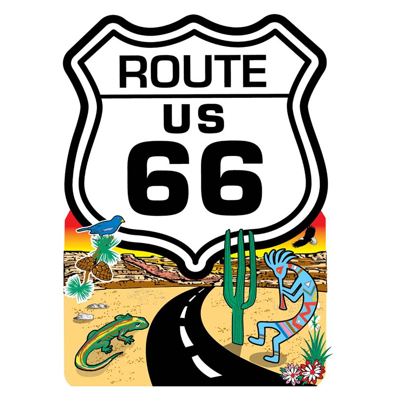 Magnet - Route 66 Shield & Desert Road Scene - Die-cut - USA Made