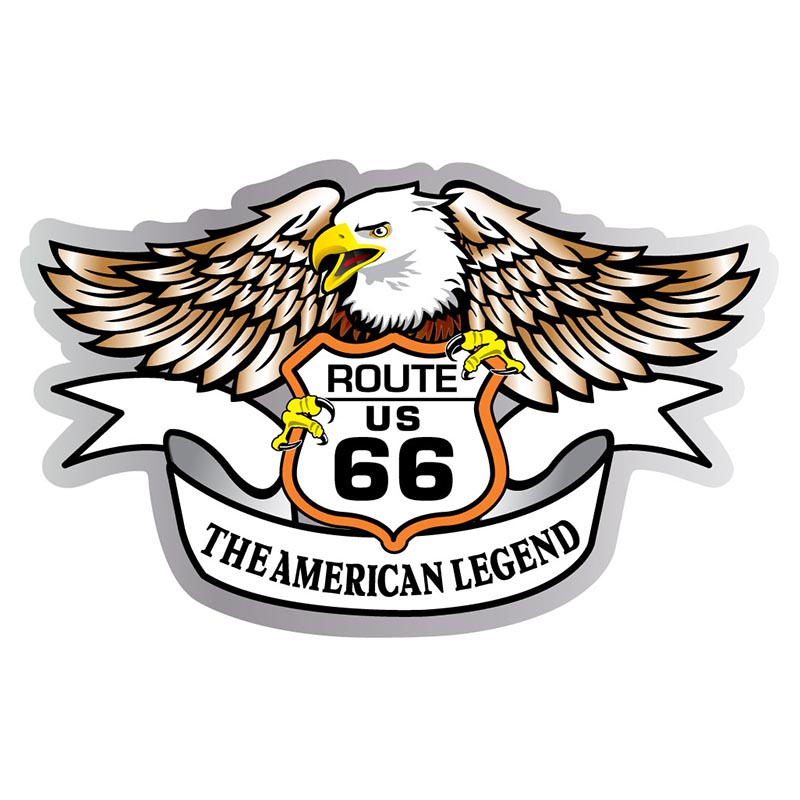 Magnet - Route 66 Eagle with Shield - Die-cut - USA Made