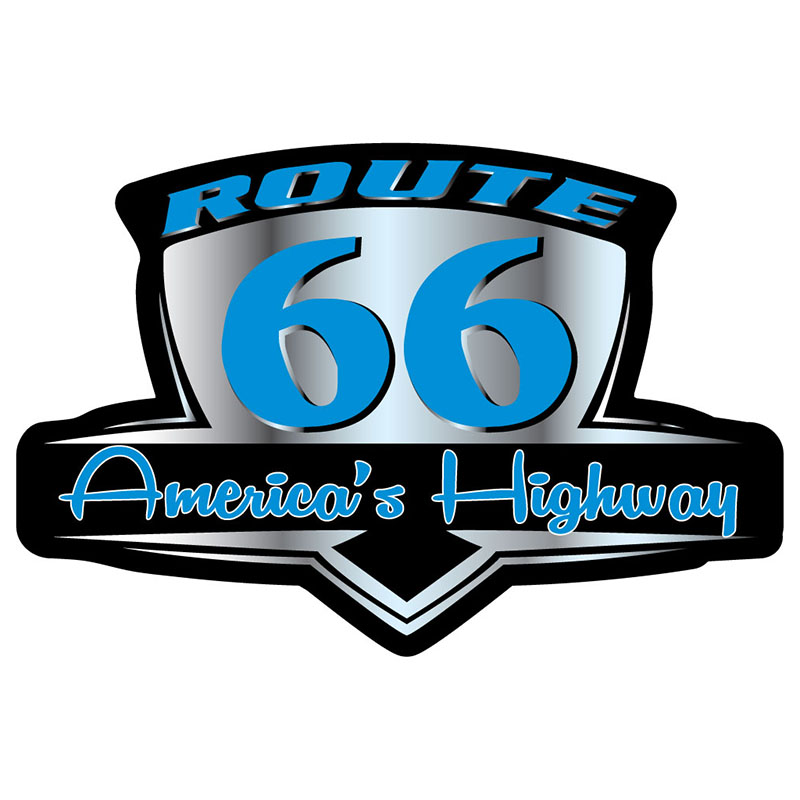 Magnet - Route 66 Retro - Blue & Silver - Die-cut - USA Made