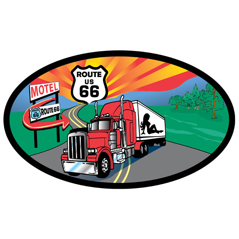 Magnet - Route 66 Motel Trucker - Oval - USA Made