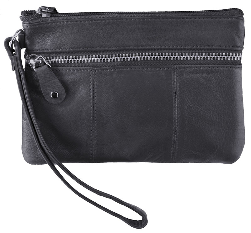 "Special - Black Wristlet Pouch with Zippers  7"" x 5"" z"
