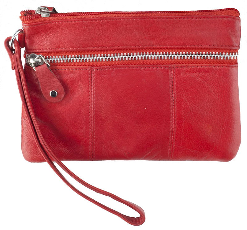 "Special - Red Wristlet Pouch with Zippers  7"" x 5"" z"