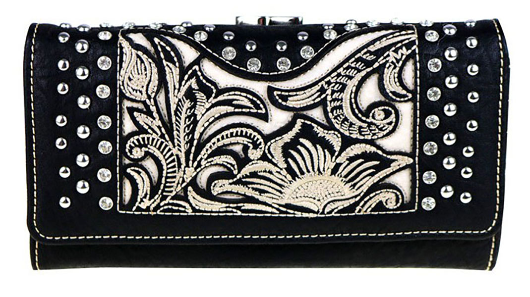 Closeout Ladies' Wallet - floral - rhinestones - studs - Black/ivory  d