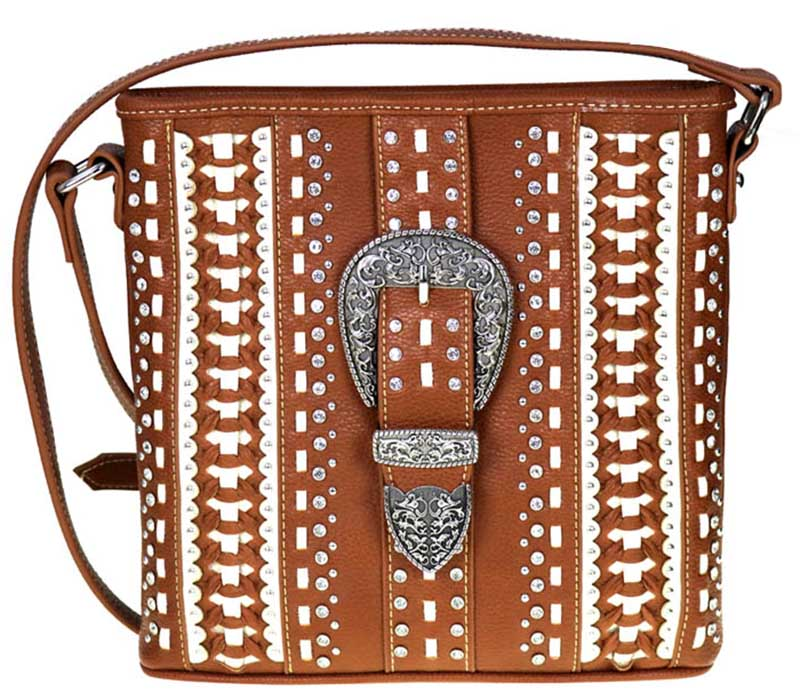 Closeout Crossbody Purse,  Concealed carry, Rhinestones, Rivets, Buckle, Brown/Ivory wo