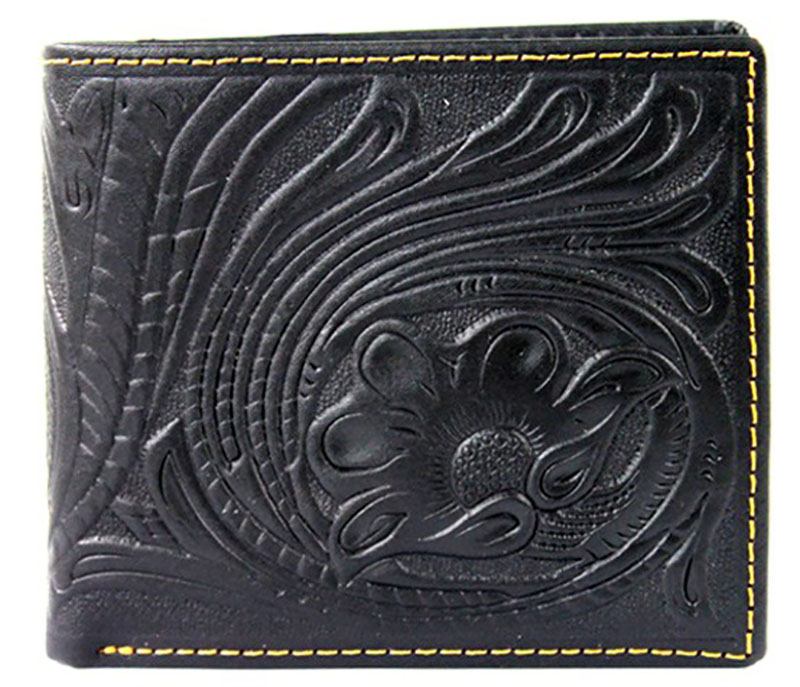 29% OFF - Closeout - Genuine Hand Tooled Leather Billfold Wallet - Black - wo
