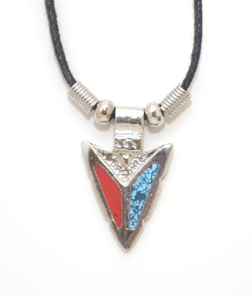 Special  Turquoise & Coral Arrowhead Necklace z