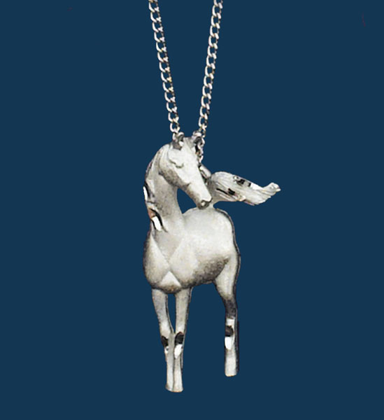 Silver Horse Necklace 18in chain Made in the USA z