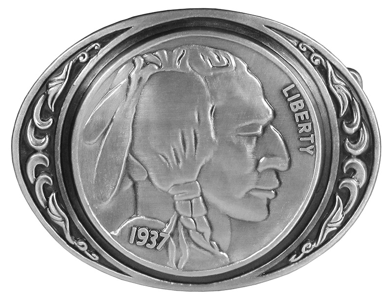 "New - Indian Head Coin Belt Buckle 3-1/2"" x 2-3/4"" wo"