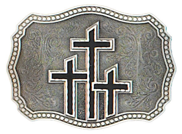 Triple Crosses Belt Buckle Black 3-1/2 x 2-3/4