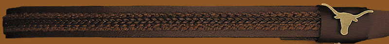Brown Leather Hatband with brown woven center, Made in the USA