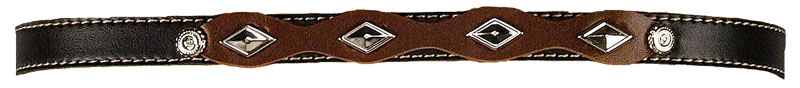 20% Off Special - Black & Brown Hatband, Diamond Shaped conchos, adjustable z