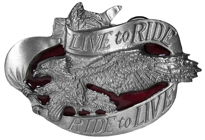 Live to Ride Belt Buckle 3-3/4 x 2-3/4 Made in USA