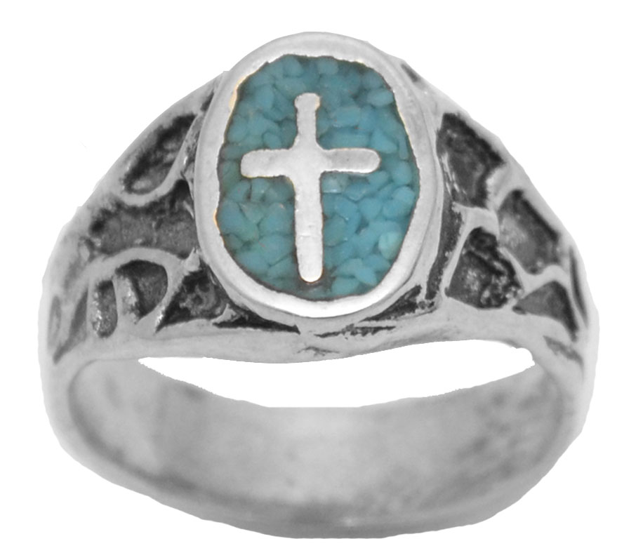 60% OFF - Cross Ring - Turquoise  Made in the USA