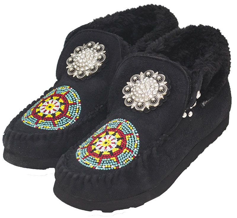 60% OFF - Closeout - BLACK Moccasins with Floral Rhinestone Concho & Embroidery
