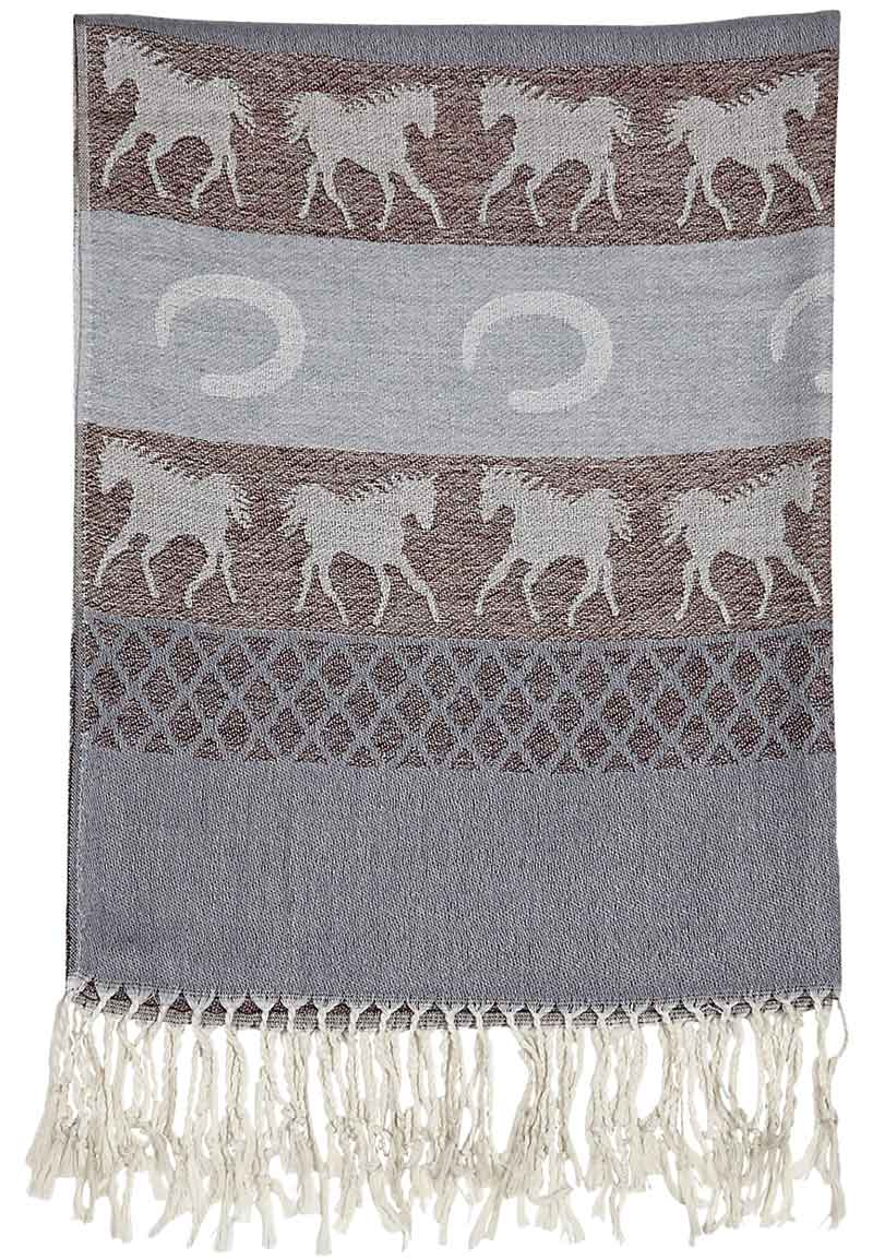 New - Grey Equestrian Scarf