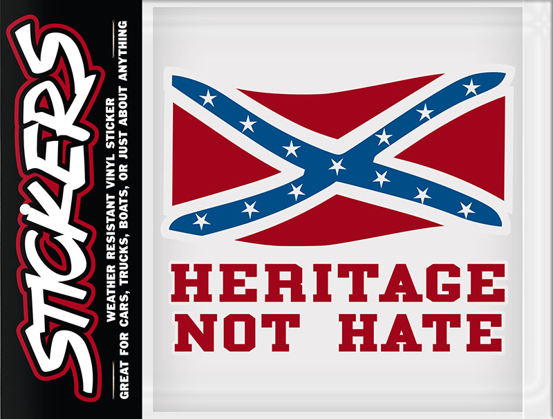 "Heritage Not Hate Rebel Sticker made in USA - 6"" x 5"""