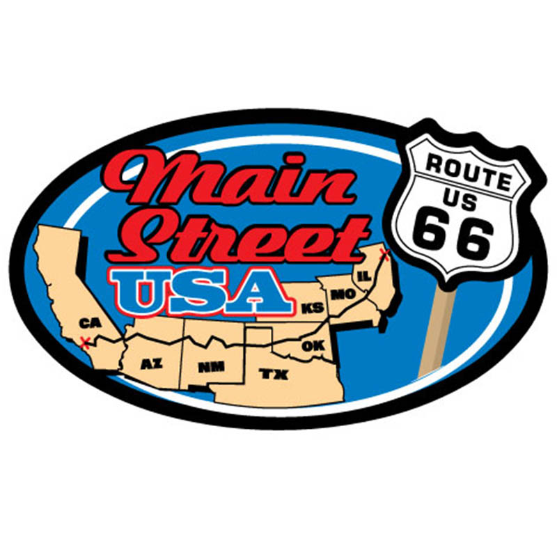 Sticker - Route 66 Main Street USA - Oval - USA Made
