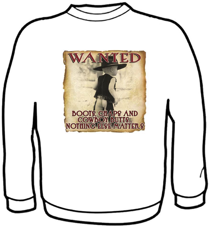 Boots Chaps Cowboy Butts Sweatshirt Kids