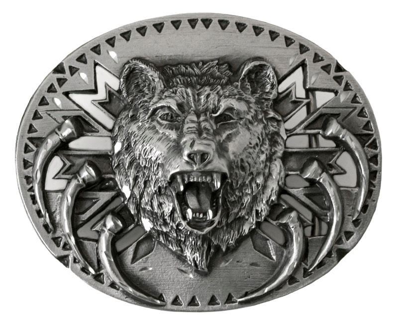 "New - Grizzly Bear Head Belt Buckle  3-1/2"" x 2-1/2"" Made in USA wo"