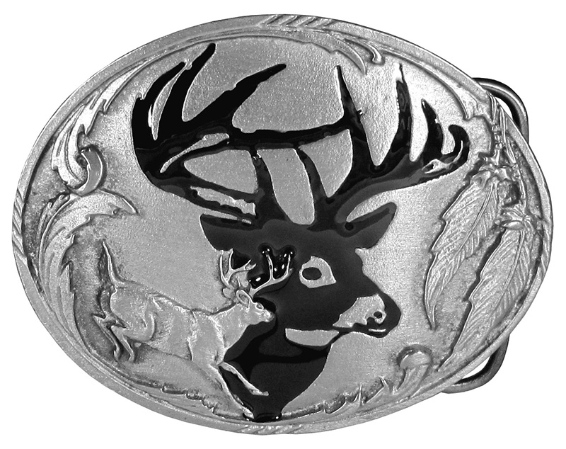 "Deer Belt Buckle 3-1/4"" x 2-1/2""  Made in USA  wo"