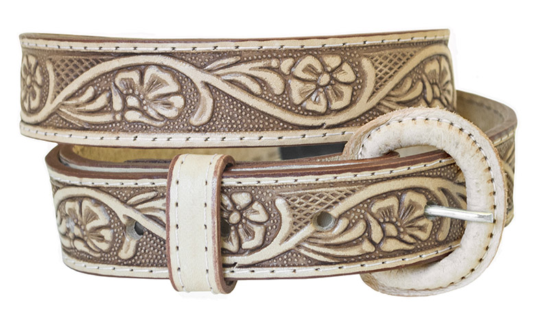 "Child's Leather Belt - Brown, 1"" wide."