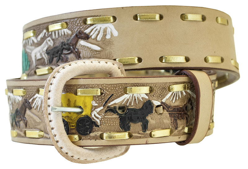 "Child's Leather Belt Western Design with Name Blank 1 1/4"" wide"