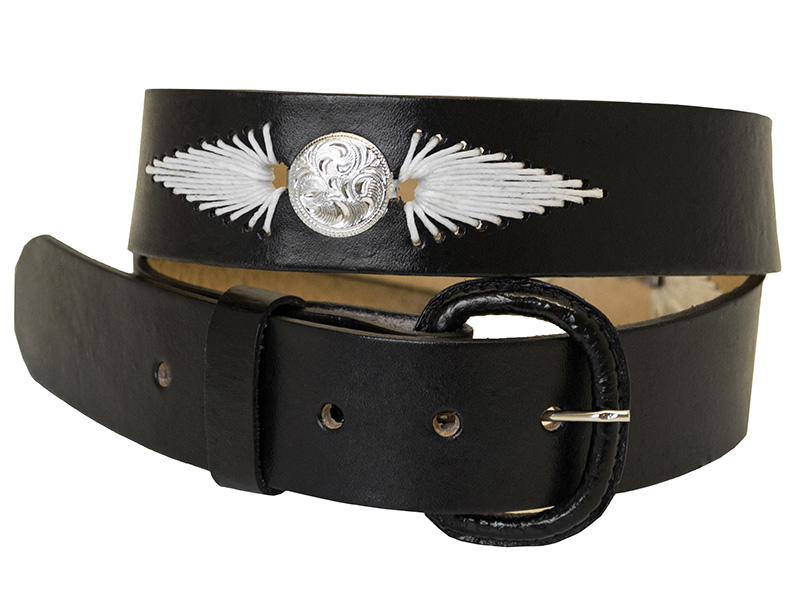 "Closeout Black Leather Belt - White Lacing, Conchos, 1-1/2"" wide."