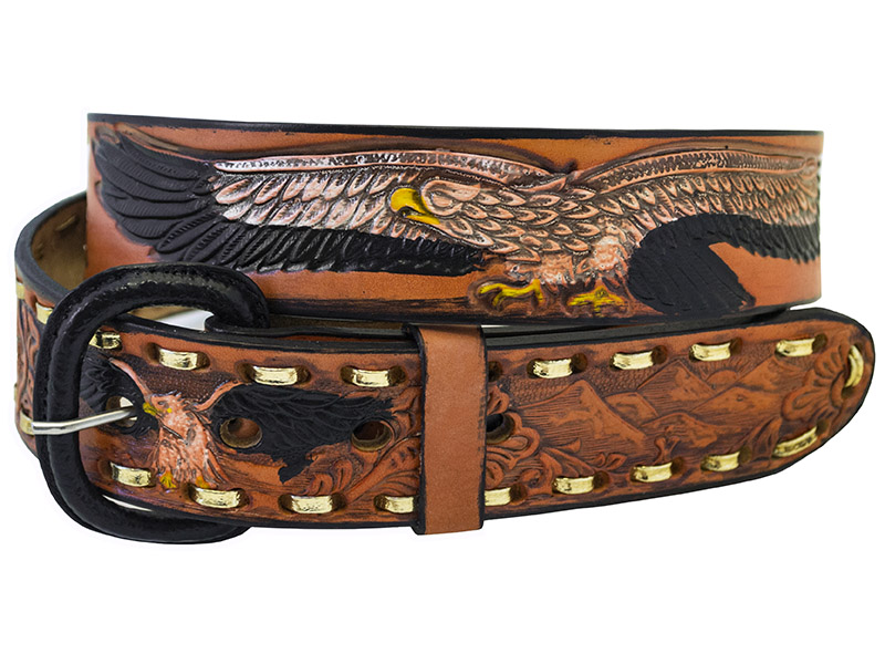 "Closeout Brown Leather Eagle Belt, 1-1/2"" wide. *WILL BE DISCONTINUED"