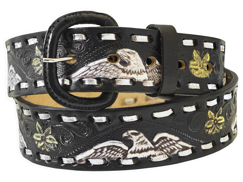 "Closeout Black Leather Eagle Belt, 1-1/2"" wide *WILL BE DISCONTINUED"