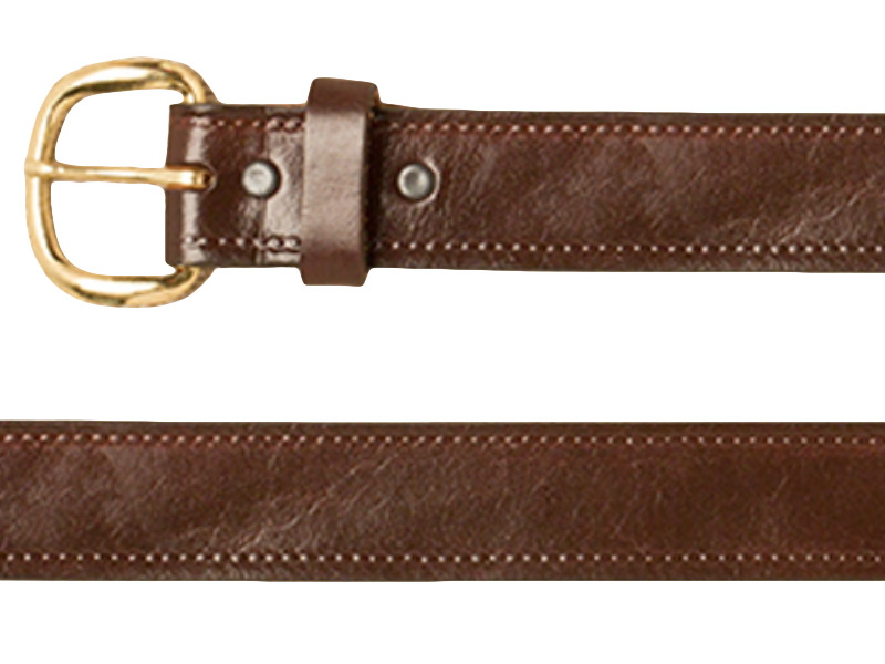Belt - Plain - Stitched Edge - Brown Leather - USA Made