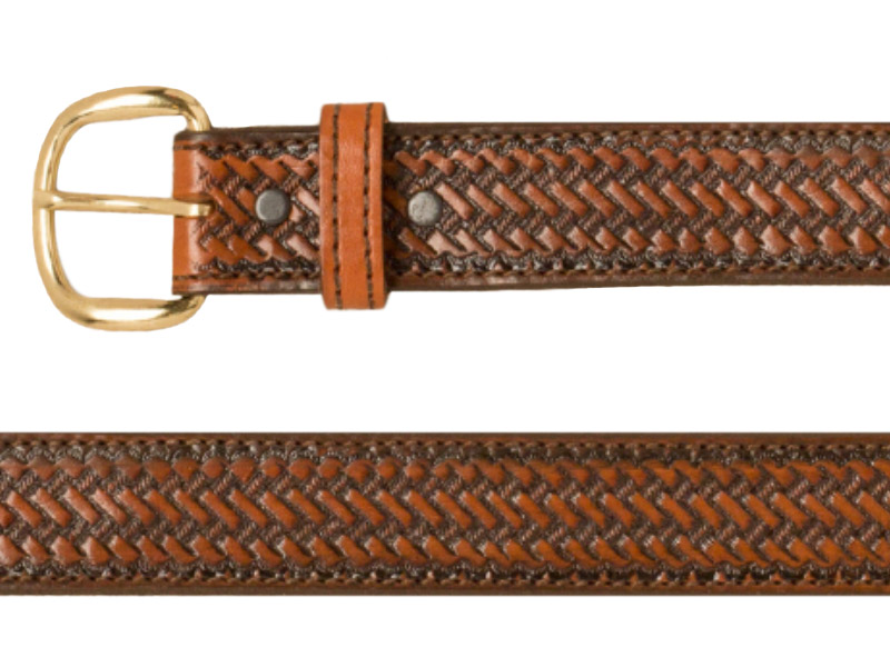 Belt - Weave Pattern - Tan Leather - USA Made