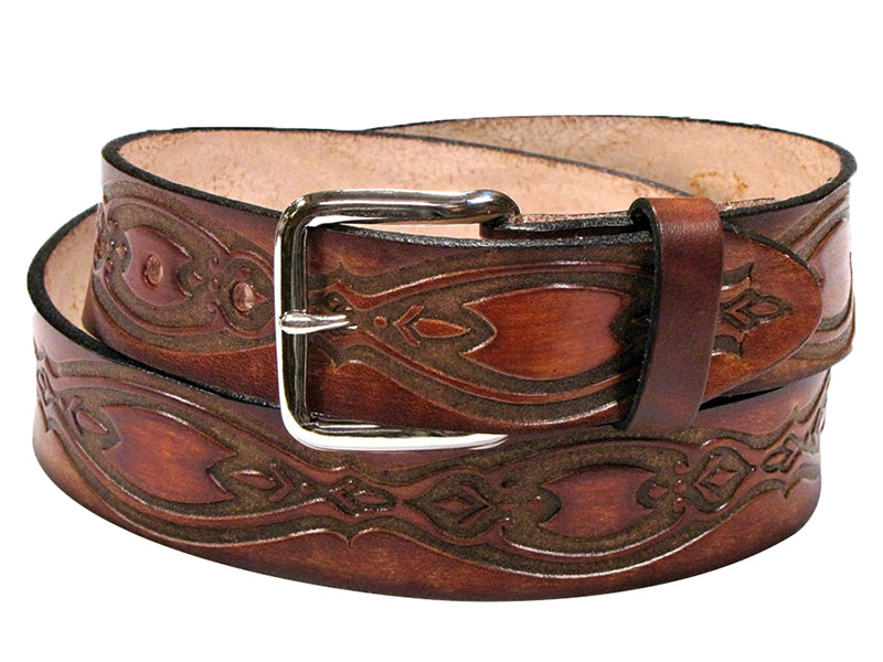 Made in the USA - Brown Leather Belt with Ornate Ovals