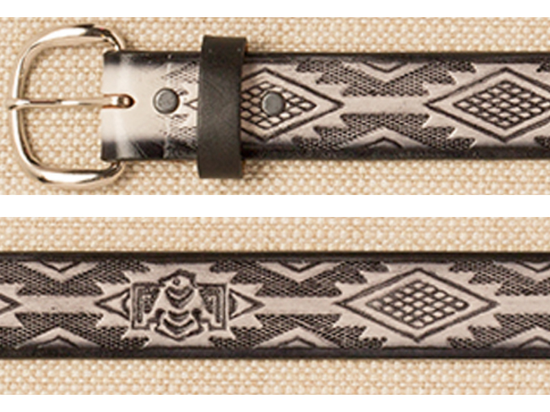 Belt - Aztec Design - Gray & Beige Leather - USA Made